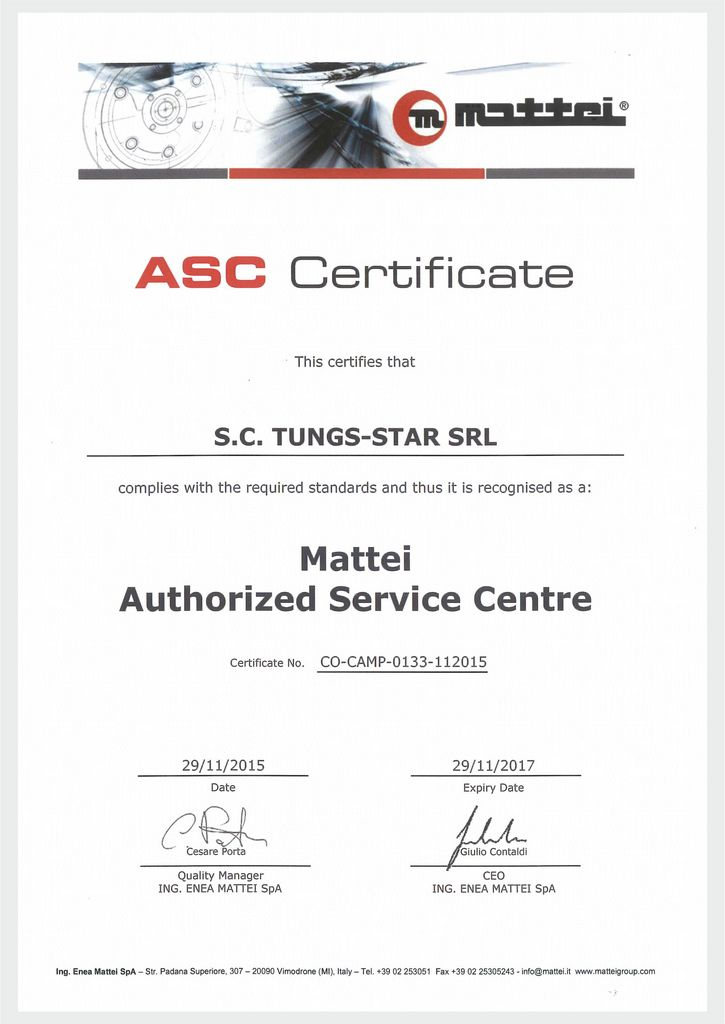 MATTEI SERVICE CENTER Authorization